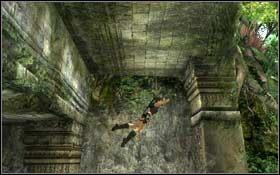 Wykonaj skok do tyłu, aby złapać się krawędzi biegnącej wzdłuż fasady budynku - Coastal Thailand - Remnants (cz.1) - Solucja - Tomb Raider: Underworld - poradnik do gry