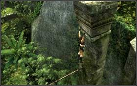 Jest za wysoko, aby od razu zeskoczyć w dół, dlatego też musisz wykorzystać do tego wysokie kolumny - Coastal Thailand - Remnants (cz.1) - Solucja - Tomb Raider: Underworld - poradnik do gry