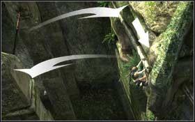 Stań na drążku i skocz w kierunku następnego, a potem jeszcze raz, tyle tylko, że teraz będzie to gzyms biegnący wzdłuż skalnej ściany - Coastal Thailand - Remnants (cz.2) - Solucja - Tomb Raider: Underworld - poradnik do gry
