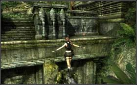 Kiedy znajdziesz się na górze, obejdź kolumnę dookoła i opuść się na drewnianą belkę - Coastal Thailand - Remnants (cz.2) - Solucja - Tomb Raider: Underworld - poradnik do gry