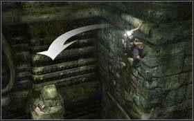Z ostatniego filara przeskocz na ścianę i potem przejdź po kamieniach na gzyms powyżej - Coastal Thailand - Bhogavathi (cz.1) - Solucja - Tomb Raider: Underworld - poradnik do gry
