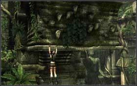 Stamtąd przejdź do przeciwległej ściany, złap się krawędzi na wprost i zacznij się po niej przesuwać w prawo - Coastal Thailand - Bhogavathi (cz.1) - Solucja - Tomb Raider: Underworld - poradnik do gry