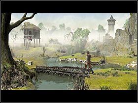 Dotarłszy pod zawalony most, Olaf podchodzi do dużego drzewa po prawej i z dołu jego pnia zeskrobuje trochę suchej żywicy - Zdobyć żywą wodę - Wioska - Zaginiona historia: Tale of Hero - poradnik do gry