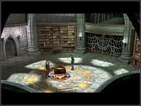 Za pozwoleniem Pripogali Olaf zabiera statuetk� ze stolika przy biblioteczce oraz stoj�cy przy kotle (z lewej strony) blaszany garnuszek - Zdoby� �yw� wod� - Wioska - Zaginiona historia: Tale of Hero - poradnik do gry