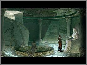 Zszedłszy tam, Olaf odczytuje tajemnicze zapiski z wiszącej na ścianie kamiennej tablicy, przygląda się pustej studni i otaczającym ją gargulcom, wreszcie usytuowanemu po prawej posągowi bogini życia i młodości - Zdobyć żywą wodę - Wioska - Zaginiona historia: Tale of Hero - poradnik do gry