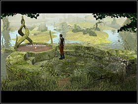 Mężczyzna opuszcza świątynię i maszeruje na rozstaje, a stamtąd do granicy bagien - Przyprowadzić Mykorusowi strażnika - Wioska - Zaginiona historia: Tale of Hero - poradnik do gry