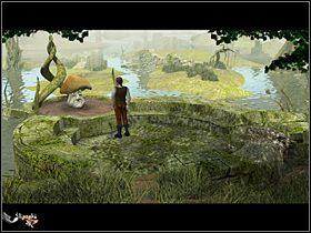 Nie uzyskawszy �adnej wskaz�wki, Olaf maszeruje na rozstaje (do granicy bagien, w g��b bagien), gdzie dostrzega ca�� watah� �limak�w (przy rozlewisku po prawej) - Przyprowadzi� Mykorusowi stra�nika - Wioska - Zaginiona historia: Tale of Hero - poradnik do gry