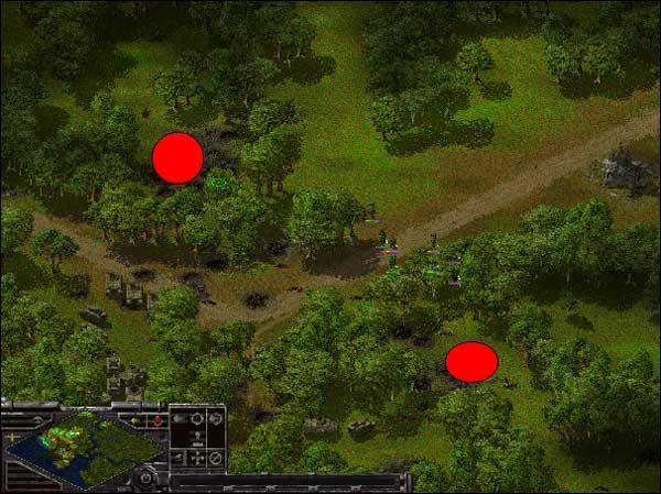 Na screen'ie powyżej czerwone kółka, to miejsca w który są ustawione granatniki - Alianci: Misja 4 - Sudden Strike - Opis przejścia gry po stronie Aliantów - poradnik do gry