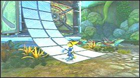 Przeskocz kolce i za pomocą klucza przyciągnij do siebie kładkę - Hoolefar Island (1) - Opis przejścia - Ratchet & Clank: Quest for Booty - poradnik do gry