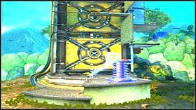 Przejdź na rękach w prawo i obróć kluczem platformę tak, aby byłą w poziomie - Hoolefar Island (2) - Opis przejścia - Ratchet & Clank: Quest for Booty - poradnik do gry