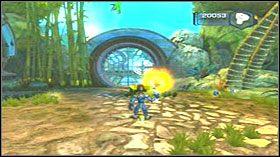Przejdź przez nią i użyj klucza, aby stworzyć linę, co umożliwi Ci przejście nad przepaścią - Hoolefar Island (2) - Opis przejścia - Ratchet & Clank: Quest for Booty - poradnik do gry