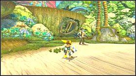 Z zakupioną częścią wróć do centralnej części wyspy, niedaleko ruchomych okrągłych kładek - Hoolefar Island (2) - Opis przejścia - Ratchet & Clank: Quest for Booty - poradnik do gry