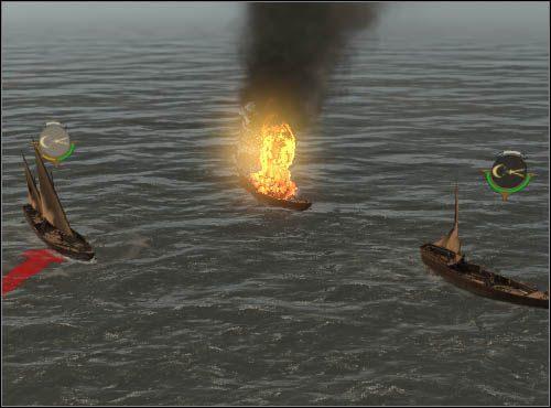 Okrętami rakietowymi można łatwo podpalić żagle przeciwnika. Pamiętaj, że płonące statki mogą w każdej chwili eksplodować. - Co atakować? - Bitwy morskie - Empire: Total War - poradnik do gry