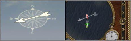 Długość brzechwy strzałki symbolizuje siłę wiatru. - Znaczenie wiatru - Bitwy morskie - Empire: Total War - poradnik do gry