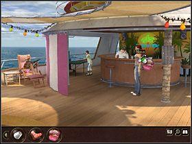 Kolejnym krokiem jest skomponowanie stosownego plażowego kapelusza z koła ratunkowego, kawałka materiału i skradzionych z restauracji róż - Morze Północne - Rejs statkiem wycieczkowym Calypso (cz.3) - Tajne akta 2: Puritas Cordis - poradnik do gry
