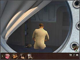 Następnego dnia dziewczyna postanawia zapukać do drzwi pasażera z kajuty nr 5, a nie doczekawszy się odzewu, mimo że zza drzwi wyraźnie słychać jakiś szmer, postanawia zajrzeć do wnętrza kajuty przez bulaj - Morze Północne - Rejs statkiem wycieczkowym Calypso (cz.4) - Tajne akta 2: Puritas Cordis - poradnik do gry