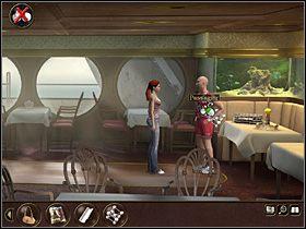 Nast�pnie Nina wchodzi do restauracji, gdzie (na ko�cu pomieszczenia) rozmawia z Panem Podrywaczem - Morze P�nocne - Rejs statkiem wycieczkowym Calypso (cz.4) - Tajne akta 2: Puritas Cordis - poradnik do gry