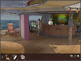 Wychodz�c z restauracji, w pustej ramce wisz�cego przy wyj�ciu obrazka instaluje ok�adk� magazynu ze zdj�ciem George'a Rooneya, co ma sugerowa�, �e znany aktor przebywa na statku - Morze P�nocne - Rejs statkiem wycieczkowym Calypso (cz.4) - Tajne akta 2: Puritas Cordis - poradnik do gry