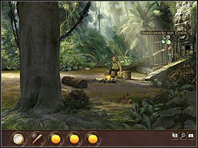 Przed frontem klatki stoi czara z owocami - Sam bierze z niej 3 pomarańcze - Indonezja - Dżungla (cz.1) - Tajne akta 2: Puritas Cordis - poradnik do gry