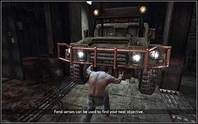 W ko�cu znajdziesz si� w gara�u, w kt�rym stoj� samochody - The Escape - Rozdzia� 1 Origins - X-Men Origins: Wolverine - poradnik do gry