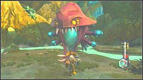 Biegnij cały czas na wprost po kładkach, aż zobaczysz postać w kapeluszu - Gelatonium Plant, Plantet Cobalia - Opis przejścia - Ratchet & Clank: Tools of Destruction - poradnik do gry