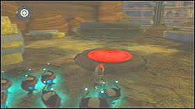 Skręć w prawo i idź wzdłuż krawędzi aż zobaczysz świecącą kulę - Lombax Ruins, Planet Fastoon - Opis przejścia - Ratchet & Clank: Tools of Destruction - poradnik do gry
