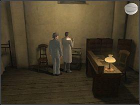 Następnie udaj się do kliniki (mapa) i przekaż uprząż dr Gibbonsowi (kliknij uprząż w ekwipunku i z tak uaktywnioną w prawym górnym rogu ekranu uprzężą kliknij dymek na doktorze Gibbonsie), w zamian otrzymasz laskę (Cane) - [Opis przejścia] Whitechapel, 11 września 1888 - Sherlock Holmes kontra Kuba Rozpruwacz - poradnik do gry