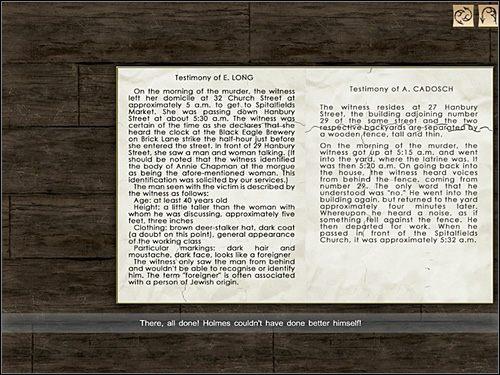 Skrawki owego raportu leżą koło kosza na śmieci (na lewo od biurka) - [Opis przejścia] Whitechapel, 11 września 1888 - Sherlock Holmes kontra Kuba Rozpruwacz - poradnik do gry