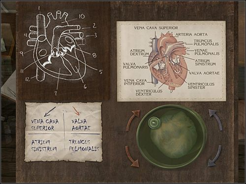 Przy niebieskiej strzałce jako drugi widnieje napis: ATRIUM SINISTRUM - [Opis przejścia] London Hospital, 12 września 1888 - Sherlock Holmes kontra Kuba Rozpruwacz - poradnik do gry
