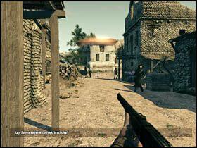 Aby kontynuowa� poch�d za porwan� niewiast�, wejd� po kilku stopniach, obok budynku okupowanego jeszcze przed momentem przez strzelc�w, i skr�� w lewo - Opis przej�cia (1) - Rozdzia� IV - Call of Juarez: Wi�zy Krwi - poradnik do gry