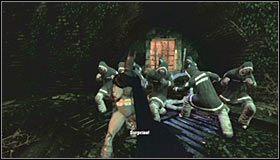 Wyskocz z budynku Arkham Mansion i kieruj się na północny-zachód, czyli w stronę dobrze poznanego już przejścia - Arkham Island #7 - Opis przejścia - Batman: Arkham Asylum - poradnik do gry