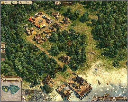 Początek - zbudowane 3 nowe domy, 2 chaty drwala i 1 rybaka. - Rozdział I - Wyznanie wiary (cz.1) - Kampania - Anno 1404 - poradnik do gry