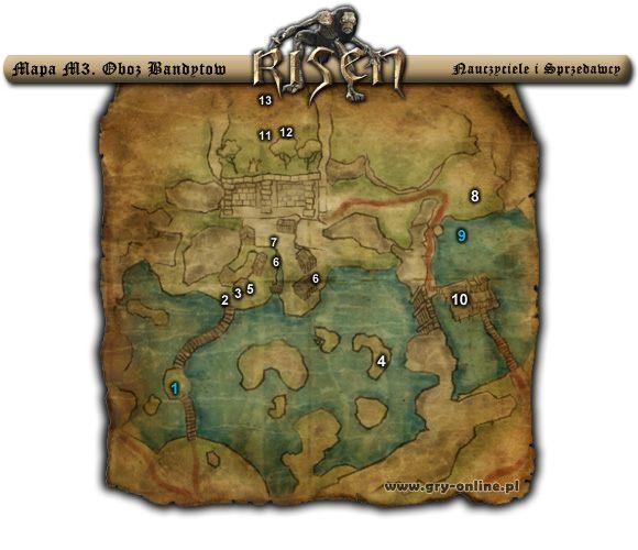 1 - M3 Ob�z Bandyt�w - Nauczyciele i Sprzedawcy - Risen - Atlas �wiata - poradnik do gry