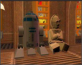Pokonaj kolejne fale szturmowców, a gdy przejdziesz w głąb korytarza, użyj klocków by stworzyć przejście przez lukę w podłodze - Chapter 1 - Secret Plans - Story Mode - Episode 4 - LEGO Star Wars: The Complete Saga - poradnik do gry