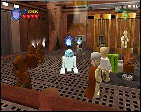 Gdy uwolnisz R2, użyj nim panelu na ścianie i wyjedź windą na górę - Chapter 2 - Through the Jundland Wastes - Story Mode - Episode 4 - LEGO Star Wars: The Complete Saga - poradnik do gry