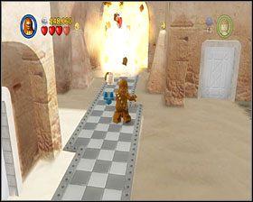 Przejdź w lewo i za pomocą haka przeskocz na drugą stronę - Chapter 3 - Mos Eisley Spaceport - Story Mode - Episode 4 - LEGO Star Wars: The Complete Saga - poradnik do gry