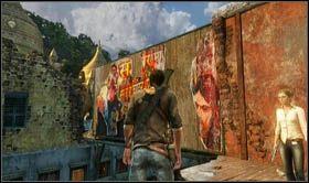 Na g�rze trafisz do miejsca, gdzie znajdowa� si� b�dzie w�skie przej�cie ponad drog� - skorzystaj z niego obserwuj�c zamieszki na dol� - Rozdzia� 7 Id� z nami - Opis przej�cia - Uncharted 2: Among Thieves - poradnik do gry