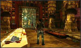 Po rozpocz�ciu rozdzia�u [sekret 1] mo�esz od razu uda� si� do sali na wprost, z charakterystyczna, du�� rze�b� - Rozdzia� 8 Tajemnice miasta - Opis przej�cia - Uncharted 2: Among Thieves - poradnik do gry
