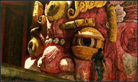 Gdy staniesz na r�wnych nogach, przejd� nieobni�onym jeszcze, kolejnym ostrzem w kierunku czerwonej twarzy - Rozdzia� 9 �cie�ka �wiat�o�ci - Opis przej�cia - Uncharted 2: Among Thieves - poradnik do gry