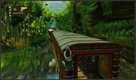 Aby się go łatwo pozbyć, wyskocz na zewnątrz wagonu i przejdź na jego dach - Rozdział 13 Lokomotywa - Opis przejścia - Uncharted 2: Among Thieves - poradnik do gry