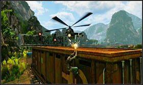 Po dotarciu do wagonu towarowego (zamkniętego), pokonaj go trzymając się lewej krawędzi - Rozdział 13 Lokomotywa - Opis przejścia - Uncharted 2: Among Thieves - poradnik do gry