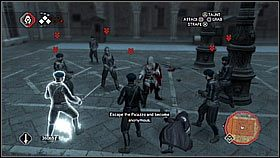 Nasz cel zacznie ucieka�, oczywi�cie gonimy go ignoruj�c stra�nik�w - Sekwencja 8 (2) - Fabu�a - Assassins Creed II - PS3 - poradnik do gry