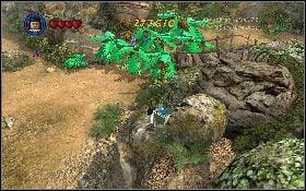 Po zakończeniu poprzedniego zadania przełącz się na Marion i podejdź do animowanych kwiatków, znajdujących się przy skale [1] na prawo od namiotu - Draka w lesie deszczowym - Kryształowa Czaszka Akt II - LEGO Indiana Jones 2: The Adventure Continues - poradnik do gry