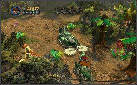 Następnie opuść pojazd i zacznij biec po dróżce w prawo [1] - Draka w lesie deszczowym - Kryształowa Czaszka Akt II - LEGO Indiana Jones 2: The Adventure Continues - poradnik do gry