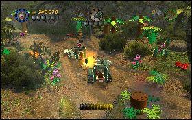 Tym razem musisz zniszczyć sześć jeepów, samemu korzystając z takiego pojazdu - Draka w lesie deszczowym - Kryształowa Czaszka Akt II - LEGO Indiana Jones 2: The Adventure Continues - poradnik do gry