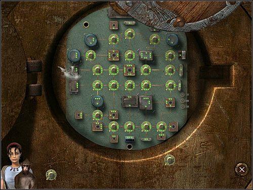 Przyjrzyj się jego układowi - trzeba go naprawić na tej samej zasadzie co poprzednio, czyli montując zabrane z drugiego robocika części i dopasowując liczbę dziurek na nich do liczby zielonych diodek, z którymi się stykają - Rozdział drugi (2) - Opis przejścia - Return to Mysterious Island 2 - poradnik do gry