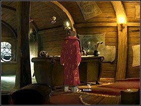 Przyjrzyj się wiszącemu (na stojącym przy łóżku manekinie) ubraniu kapitana - Wyspa (1) - Opis przejścia - Simon the Sorcerer 5: Kto nawiąże kontakt? - poradnik do gry