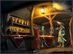 Znajdziesz się w barze, gdzie pogadaj z siedzącą na żerdzi pod sufitem papugą Polly - Wyspa (1) - Opis przejścia - Simon the Sorcerer 5: Kto nawiąże kontakt? - poradnik do gry
