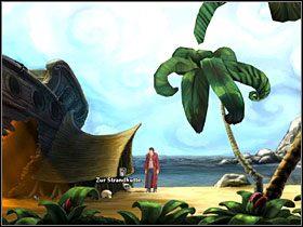 Po wymianie zdań z uwięzionym na bocianim gnieździe kapitanem połącz w ekwipunku linę z harpunem i spróbuj wystrzelić mu ją na górę - Wyspa (1) - Opis przejścia - Simon the Sorcerer 5: Kto nawiąże kontakt? - poradnik do gry