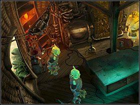 Przejdź pod chatę wynalazcy, przy której już siedzi papuga - Wyspa (1) - Opis przejścia - Simon the Sorcerer 5: Kto nawiąże kontakt? - poradnik do gry